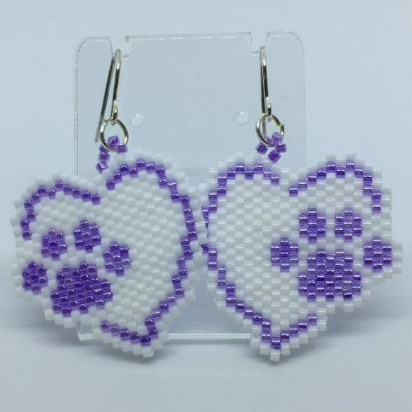 Brick Stitch Beaded Earrings - Paws On My Heart 1