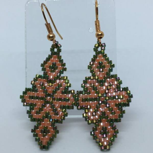 Brick Stitch Beaded Earrings - Autumn Diamond 1